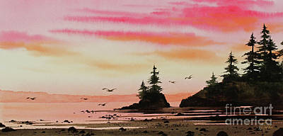 Painting - Sunset At Low Tide by James Williamson