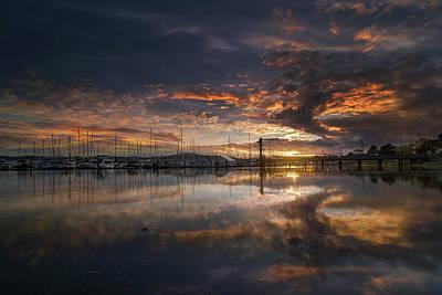 Photograph - Sunset At Marina In Anacortes In Washington by David Gn