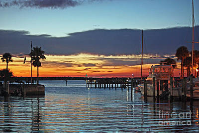 Sunset At Marina Plaza Dunedin Florida Art Print