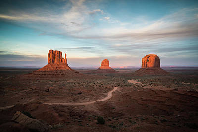 Sunset At Monument Valley Print by James Udall