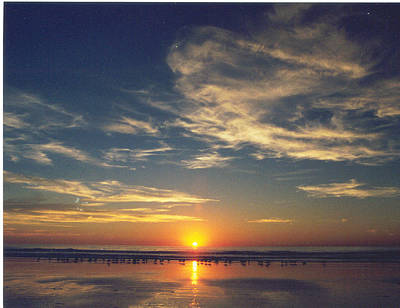 Sunset At Moonlight Beach Art Print by PJ  Cloud