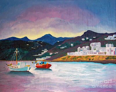 Painting - Sunset At Mykonos by Marina McLain