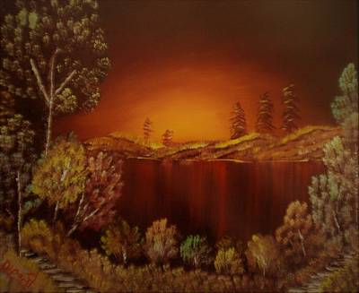 Sunset At Nainital Art Print