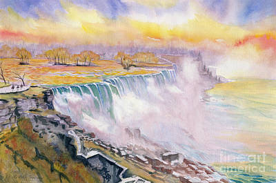 Painting - Sunset At Niagara Falls  by Melly Terpening