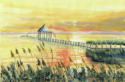 Painting - Sunset At Northside Park Ocean City,md by Melly Terpening