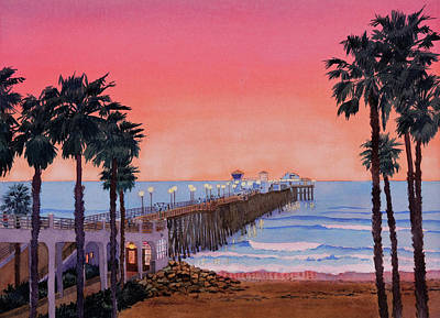 Photograph - Sunset At Oceanside Pier by Mary Helmreich