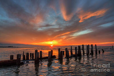 Photograph - Sunset At Old Saltair Piers by Spencer Baugh