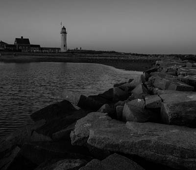 Photograph - Sunset At Old Scituate Lighthouse In Black And White by Brian MacLean