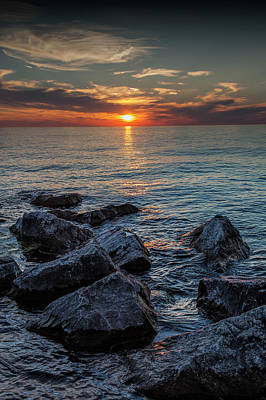 Photograph - Sunset At Ottawa Beach From The Channel Rocks by Randall Nyhof