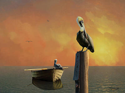 Digital Art - Sunset At Pelican Cove by IM Spadecaller
