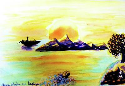 Painting - Sunset At Phangan Island by Wanvisa Klawklean