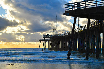 Pismo Beach Painting - Sunset At Pismo Pier by Barbara Snyder