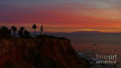 Sunset At Point Vicente Lighthouse Print by Martin Veselich