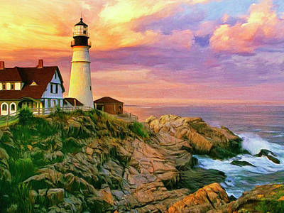 Portland Head Lighthouse Painting - Sunset At Portland Head by Dominic Piperata