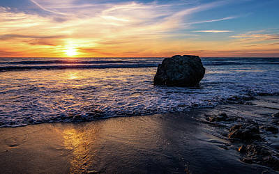 Sunset At San Simeon Beach Art Print