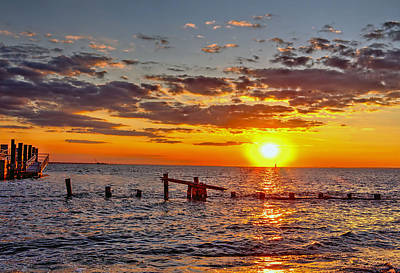 Sandy Hook Digital Art - Sunset At Sandy Hook New Jersey by Geraldine Scull