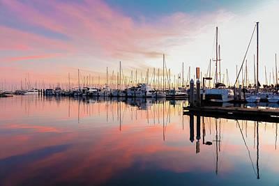 Photograph - Sunset At Santa Barbara Marina by Kathleen McGinley