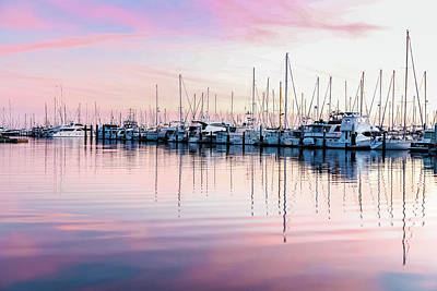 Photograph - Sunset At Santa Barbara With Sailboats by Kathleen McGinley