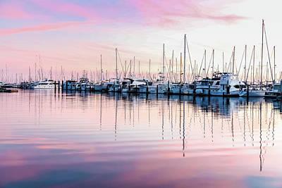 Photograph - Sunset At Santa Barbara With Sailboats by Kathleen McGinley