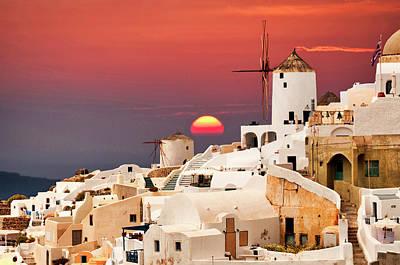 sunset at Santorini Art Print