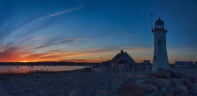 Sunset At Scituate Lighthouse Art Print by Jeff Folger