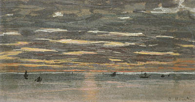 Fading Painting - Sunset At Sea by Claude Monet