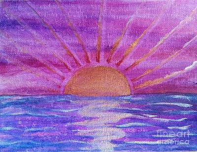 Copper Sunset Mixed Media - Sunset At Sea In Purple And Pink by Desiree Paquette