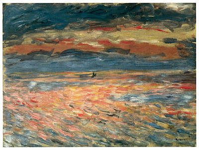 Sea Going Painting - Sunset At Sea by Pierre-Auguste Renoir