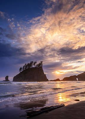 Print featuring the photograph Sunset At Second Beach by Dan Mihai