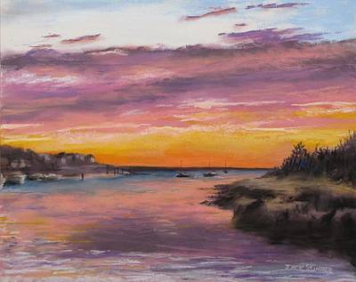 Sunset At Sesuit Harbor Print by Jack Skinner