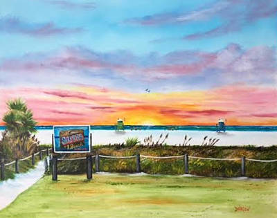 Painting - Sunset At Siesta Key Public Beach by Lloyd Dobson