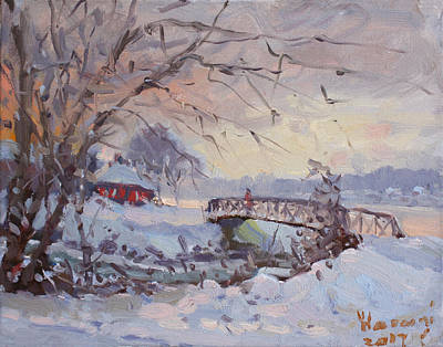 Fall Snow Wall Art - Painting - Sunset At Snow-covered Niawanda Park by Ylli Haruni