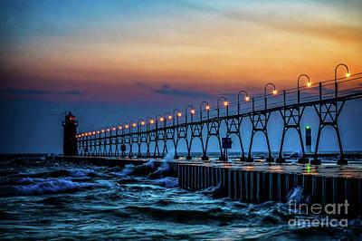 Photograph - Sunset At South Haven Light by Nick Zelinsky