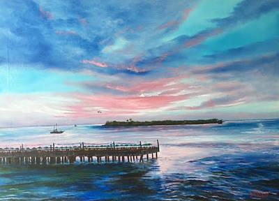 Painting - Sunset At Sunset Pier Tiki Bar Key West by Lloyd Dobson