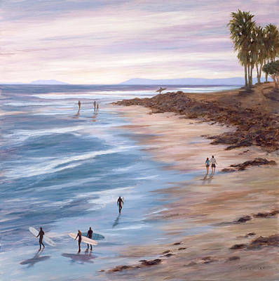 Oceanscape Painting - Sunset At Surfers Point by Tina Obrien
