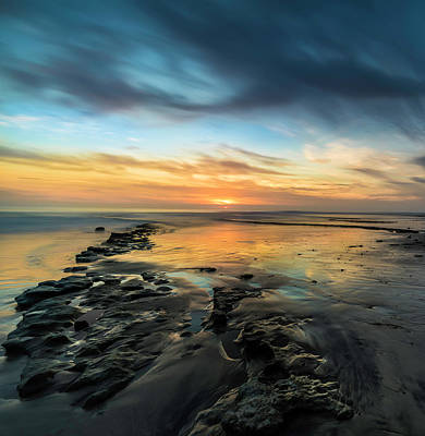 Ocean Sunset Photograph - Sunset At Swamis Beach by Larry Marshall