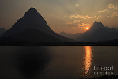 Photograph - Sunset At Swiftcurrent Lake by Dennis Hedberg