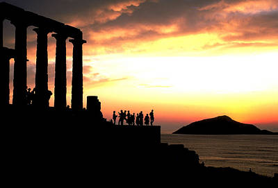 Sounion Photograph - Sunset At Temple Of Poseidon by Carl Purcell