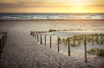 Print featuring the photograph Sunset At The Beach by Hannes Cmarits