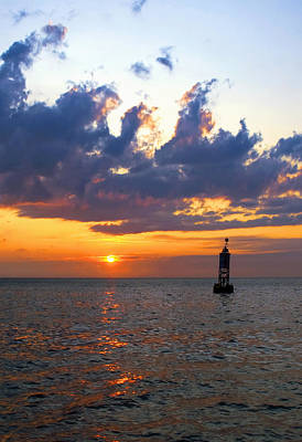Photograph - Sunset At The Bell Buoy by Charles Harden