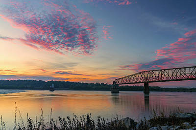 Photograph - Sunset At The Chain Of Rocks St Louis - Mississippi River 7r2_dsc2325_10012017 by Greg Kluempers