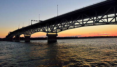 Sunset At The Coleman Bridge Art Print