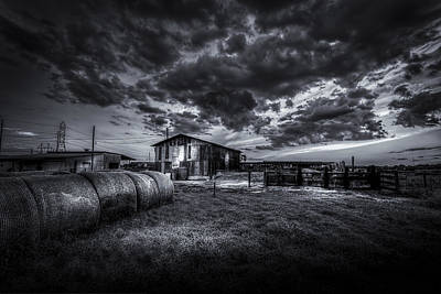 Barbed Wire Fences Photograph - Sunset At The Dairy - Bw by Marvin Spates