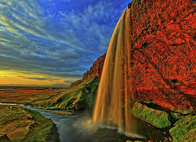 Art Print featuring the photograph Sunset At The Falls by Scott Mahon
