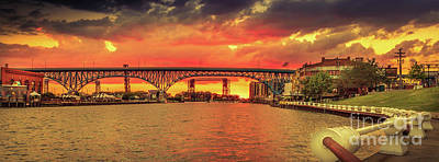 Cleveland Photograph - Sunset At The Flats Panorama by Joseph Miko