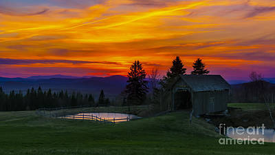 Sunset At The Foster Covered Bridge. Art Print