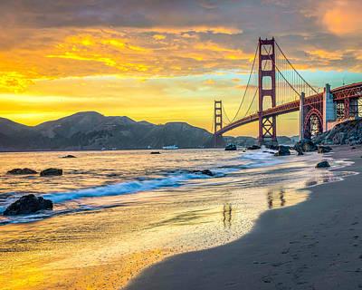 Sunset At The Golden Gate Bridge Art Print