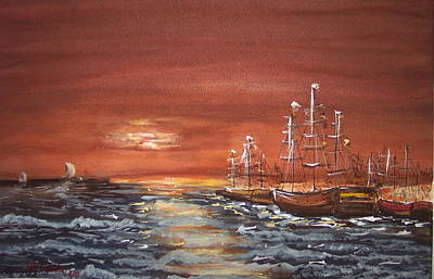 Sunset At The Harbor Art Print by Miroslaw  Chelchowski