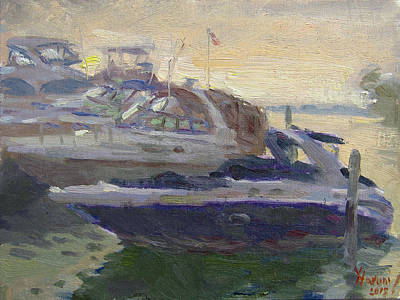 Yacht Painting - Sunset At The Harbor by Ylli Haruni