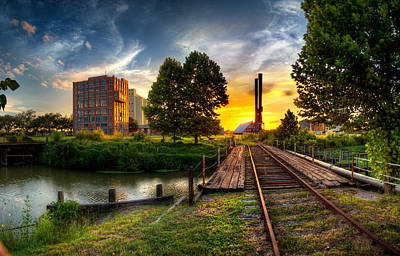 Sunset At The Imperial Sugar Factory Smoke Stacks Early Stage Landscape Art Print by Micah Goff